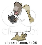 African American Angel Reading From A Bible Clipart