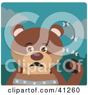 Clipart Illustration Of A Brown Bear Character Holding A Wallet And Being Surrounded By A Swarm Of Moths