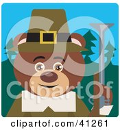 Clipart Illustration Of A Brown Bear Hunting Pilgrim Character