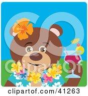 Brown Bear Hawaiian Tourist Character