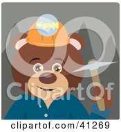 Clipart Illustration Of A Brown Bear Miner Character