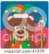 Clipart Illustration Of A Brown Bear Jester Character