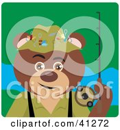 Clipart Illustration Of A Fishing Brown Bear Character