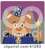 Clipart Illustration Of A Wizard Teddy Bear Character by Dennis Holmes Designs