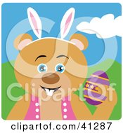 Clipart Illustration Of A Teddy Bear Easter Bunny Character by Dennis Holmes Designs