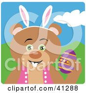 Clipart Illustration Of A Bear Easter Bunny Character by Dennis Holmes Designs