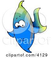 Tropical Marine Blue Fish Clipart by Dennis Cox
