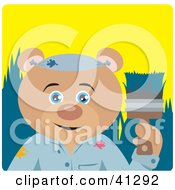 Clipart Illustration Of A Teddy Bear Painter Character