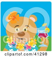 Clipart Illustration Of A Teddy Bear Hawaiian Tourist Character by Dennis Holmes Designs