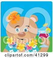 Clipart Illustration Of A Bear Hawaiian Tourist Character by Dennis Holmes Designs