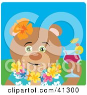 Clipart Illustration Of A Hawaiian Tourist Teddy Bear Character by Dennis Holmes Designs