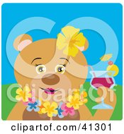 Clipart Illustration Of A Female Hawaiian Tourist Teddy Bear Character Drinking A Cocktail by Dennis Holmes Designs