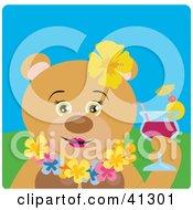 Female Hawaiian Tourist Teddy Bear Character Drinking A Cocktail