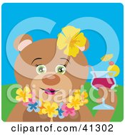 Female Hawaiian Tourist Bear Character Drinking A Cocktail