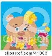 Teddy Bear Female Hawaiian Tourist Character Drinking A Cocktail