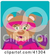 Clipart Illustration Of A Female Teddy Bear Super Hero Character