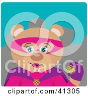 Clipart Illustration Of A Female Bear Super Hero Character