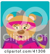 Clipart Illustration Of A Female Super Hero Teddy Bear Character