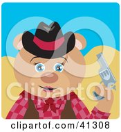 Clipart Illustration Of A Teddy Bear Cowgirl Character by Dennis Holmes Designs