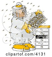 Male Beekeeper Checking A Honeybee Apiary Bee Hives Clipart by Dennis Cox