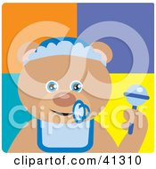 Clipart Illustration Of A Teddy Bear Baby Boy Character by Dennis Holmes Designs