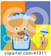 Clipart Illustration Of A Bear Baby Boy Character by Dennis Holmes Designs