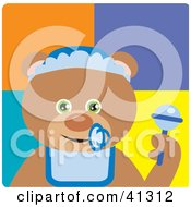 Clipart Illustration Of A Baby Boy Teddy Bear Character by Dennis Holmes Designs