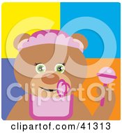 Clipart Illustration Of A Teddy Bear Baby Girl Character by Dennis Holmes Designs