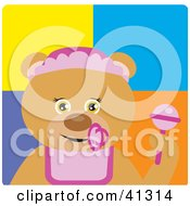 Clipart Illustration Of A Bear Baby Girl Character by Dennis Holmes Designs