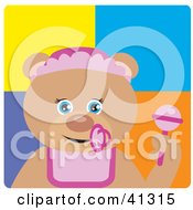 Clipart Illustration Of A Baby Girl Teddy Bear Character by Dennis Holmes Designs