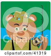 Clipart Illustration Of A Fishing Teddy Bear Character
