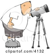 Male Astronomer Looking Through A Telescope Clipart