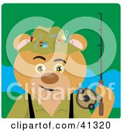 Clipart Illustration Of A Fishing Bear Character