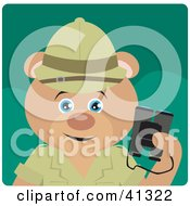 Clipart Illustration Of A Teddy Bear Explorer Character Holding Binoculars by Dennis Holmes Designs