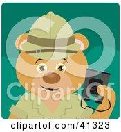 Bear Explorer Character Holding Binoculars