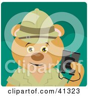 Clipart Illustration Of A Bear Explorer Character Holding Binoculars by Dennis Holmes Designs