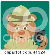 Clipart Illustration Of An Explorer Teddy Bear Character Holding Binoculars by Dennis Holmes Designs