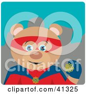 Clipart Illustration Of A Teddy Bear Hero Character