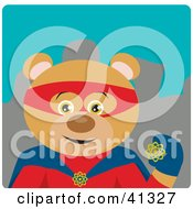 Clipart Illustration Of A Hero Teddy Bear Character