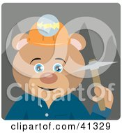 Clipart Illustration Of A Bear Miner Character by Dennis Holmes Designs