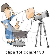 Woman Standing Beside Her Husband The Astronomer Looking Through A Telescope Clipart by djart