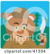 Clipart Illustration Of A Teddy Bear Davey Crockett Character by Dennis Holmes Designs