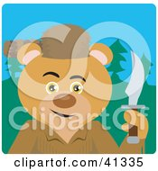 Clipart Illustration Of A Bear Davey Crockett Character by Dennis Holmes Designs