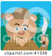 Clipart Illustration Of A Davey Crockett Bear Character by Dennis Holmes Designs