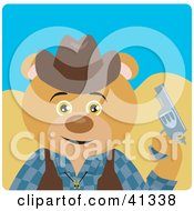 Clipart Illustration Of A Bear Cowboy Character by Dennis Holmes Designs