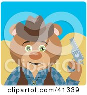 Clipart Illustration Of A Cowboy Bear Character by Dennis Holmes Designs