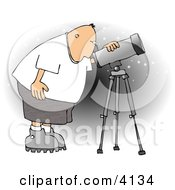 Male Astronomer Looking At The Sky Through A Telescope Clipart