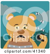 Clipart Illustration Of A Teddy Bear Character Holding A Wallet And Being Surrounded By A Swarm Of Moths