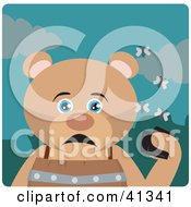Clipart Illustration Of A Bear Character Holding A Wallet And Being Surrounded By A Swarm Of Moths