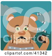 Clipart Illustration Of A Hungry Bear Character Holding A Wallet And Being Surrounded By A Swarm Of Moths